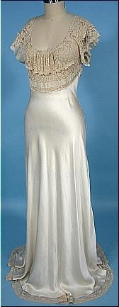 "c. 1930's ""Heavenly Silk Lingerie"" by FISCHER Ivory Bias Silk and Lace Charmeuse Negligee"