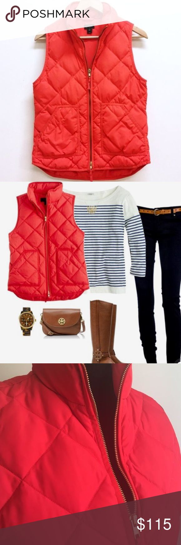J Crew Red Puffer Vest Great condition! Beautiful color! J. Crew Jackets & Coats Vests