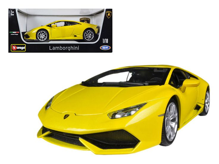 Lamborghini Huracan LP610-4 Yellow 1/18 Diecast Car Model by Bburago - Brand new 1:18 scale diecast car model of Lamborghini Huracan LP610-4 Yellow die cast car model by Bburago. Brand new box. Rubber tires. Has steerable wheels. Made of diecast metal. Detailed interior, exterior. Has opening hood, doors and trunk. Dimensions approximately L-10.5, W-4.5, H-3.5 inches. Please note that manufacturer may change packing box at anytime. Product will stay exactly the same.-Weight: 4. Height: 8…