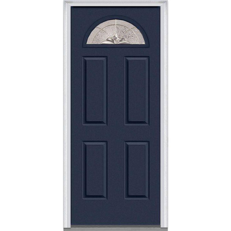 Milliken Millwork 31.5 in. x 81.75 in. Heirloom Master Decorative Glass 1/4 Lite Painted Majestic Steel Exterior Door, Naval