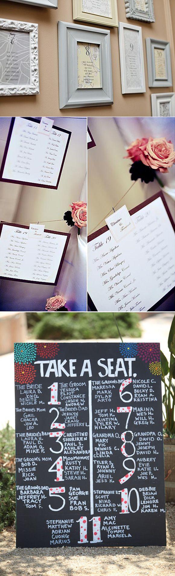 Ideas de como presentar las listas de invitados en tu boda de una manera original y sencilla con pizarras, marcos vintage, etiquetas, pinzas, etc.
