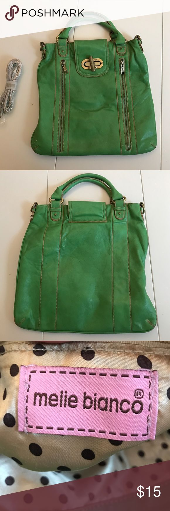 Melie Bianco Green Handbag Fun Green Handbag from Melie Bianco. Comes with unused shoulder strap or can be used with handles only. Used. Melie Bianco Bags Shoulder Bags