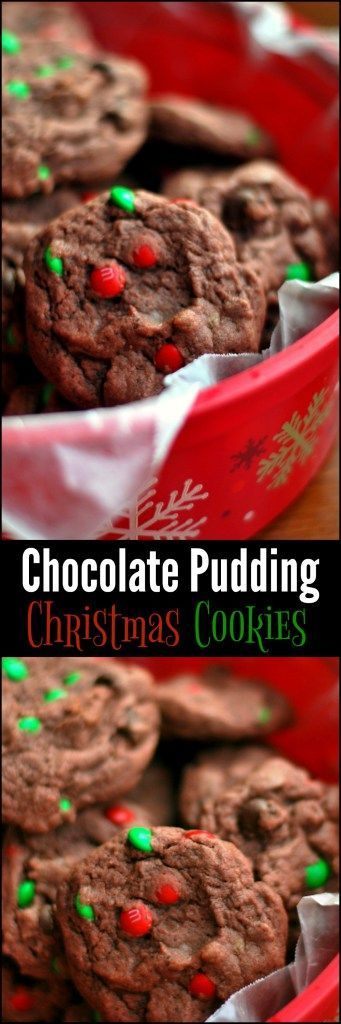 These Chocolate Pudding Christmas Cookies are such a fun treat with the red & green mini M&M's!  The kids go crazy for these!