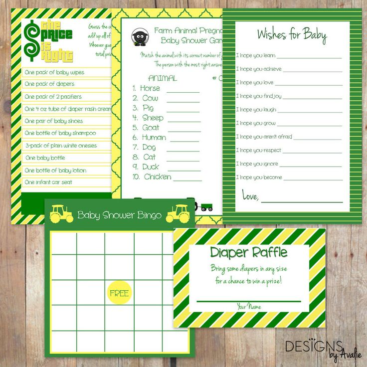 Green and Yellow Baby Shower Games Party Pack Bundle - FIVE GAMES for the Price…