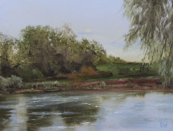 ARTFINDER: Olney Pool, River Great Ouse by Dan Wellington - An original landscape scene of a pool on the river Ouse at Olney, Bedfordshire. Framed (white) ready to hang.