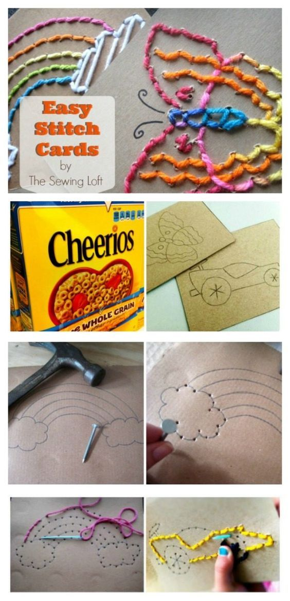 DIY Easy Stitch Cards for Children | Great craft idea for young children and preschool. The Sewing Loft for Today's Creative Life
