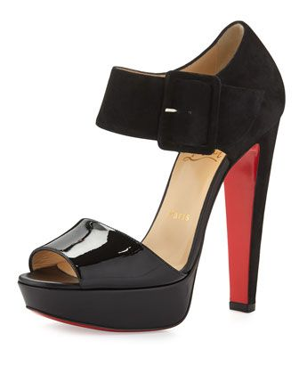 Haute Rettenue 140mm Red Sole Sandal, Black by Christian Louboutin at Neiman Marcus.