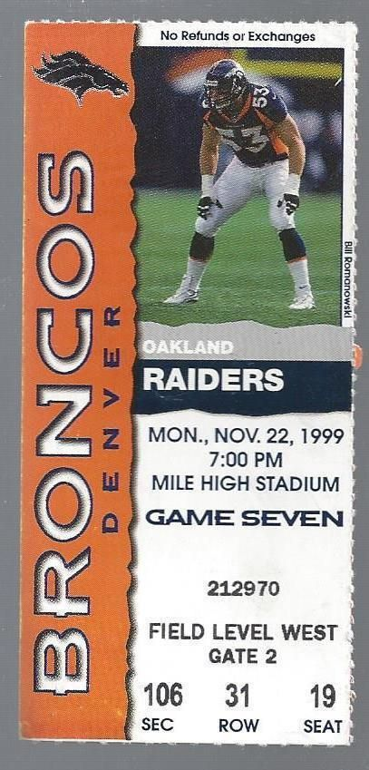1999 NFL OAKLAND RAIDERS @ DENVER BRONCOS FOOTBALL TICKET STUB - JOHN ELWAY