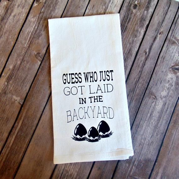Farmhouse Style Flour Sack Towel Chicken Themed Guess Who Got Laid White Elephant Gift In 2021 Chicken Decor Chicken Kitchen Decor Kitchen Decor
