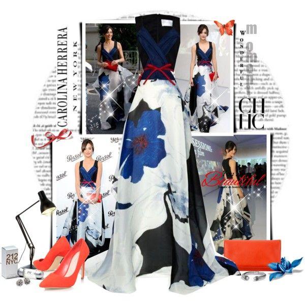 Emmy Rossum in Carolina Herrera by marcialaraia on Polyvore featuring moda, Carvela Kurt Geiger, David Yurman, Kate Spade and Anglepoise