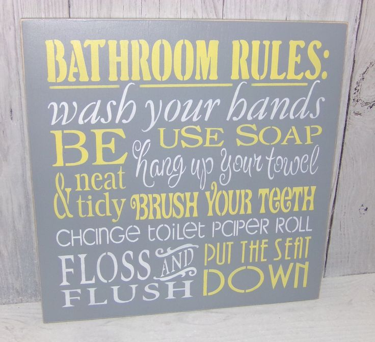 bathroom rules wash your hands sign bathroom sign change the toilet paper grey