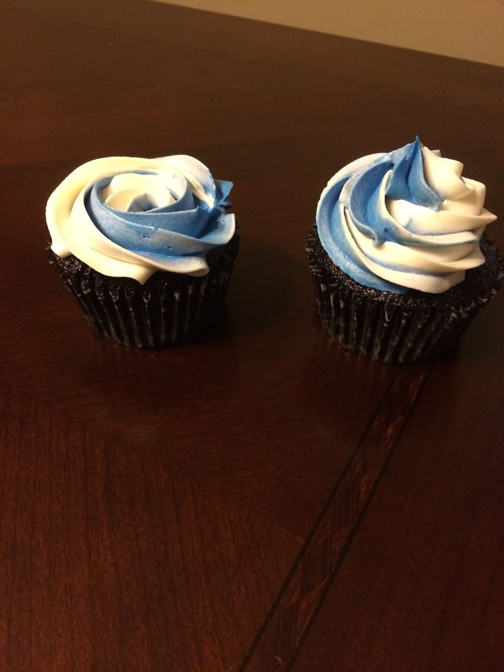 Police week cupcakes. Thin blue line, white cake cupcakes with vanilla frosting