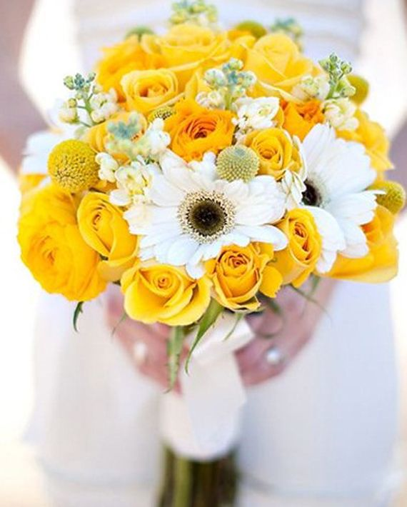 Elegant Beautiful Bridal Bouquet Yellow Roses and Chrysanthemums for Country Wedding