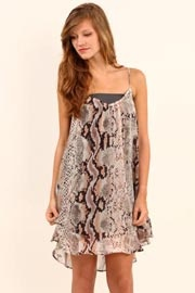 Lavender Brown Snakeskin Print Dress- Probably the only time I would wear