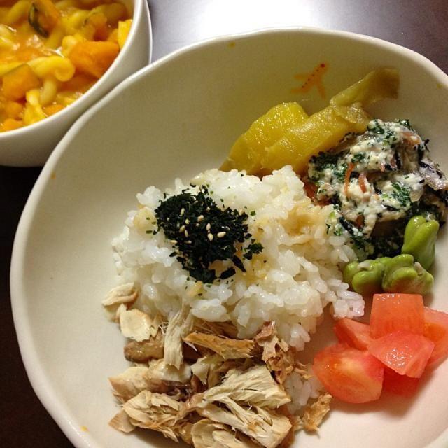 鯖の白味噌煮 小松菜の白和え そらまめ  昨日の南瓜スープ   。。。むすこ 1歳8ヶ月 - 8件のもぐもぐ - 4月5日 むすこ ごはん。 by kimidori153