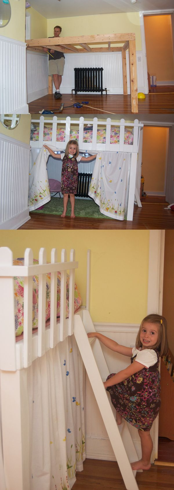 Little girl loft bed - love this! But of course we could turn it into a little boy hideout as well!!!