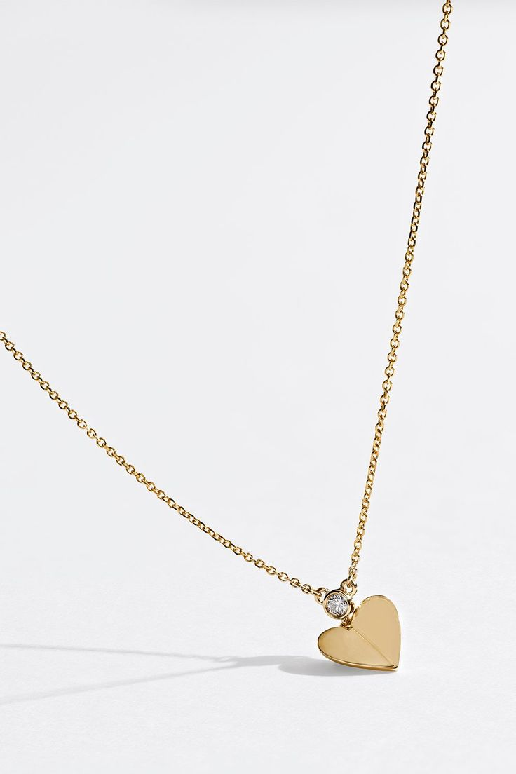 Signature Heart Diamond Necklace 1/20 ct Bezel 10K Yellow Gold