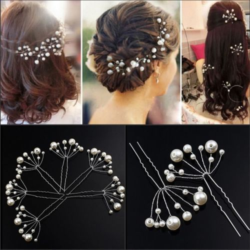 2pcs-Wedding-Bridal-Bridesmaid-Pearls-Hair-Pins-Clips-Comb-Head-wear-band-women