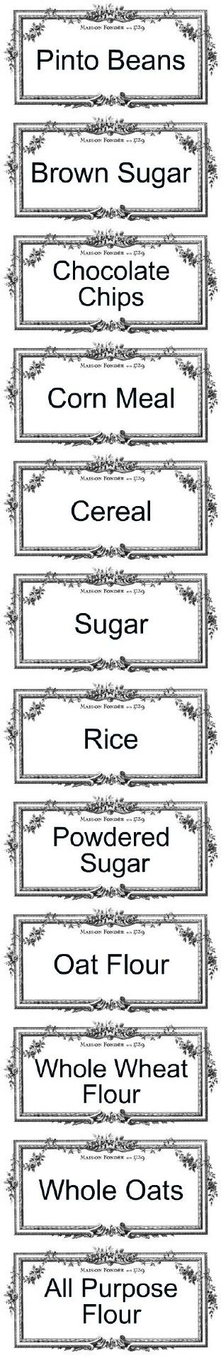 Printable pantry labels.