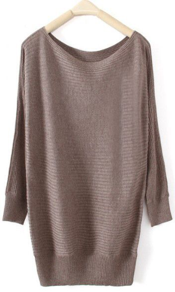 Dark Khaki Boat Neck Long Sleeve Pullovers Sweater