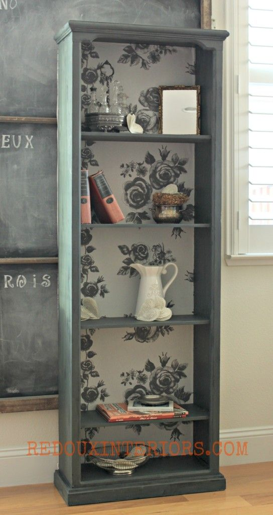 This dumpster shelf was given new life with chalk paint and fabric!