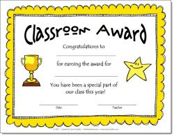 Classroom awards templates fieldstation classroom awards templates classroom awards certificates for primary students free yadclub Image collections