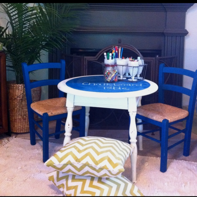 Kids table painted with DIY  chalkboard paint.  Just mix unsanded grout with paint.  3/4 paint to 1/4 unsanded grout.