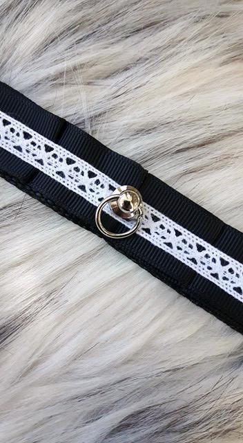 Kitten play Collar / Bdsm Chocker / pet play / Black and white
