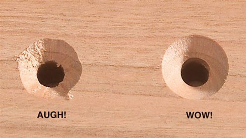 Countersink first, drill the pilot hole second. That may sound backward, but it's the easiest way to ensure a perfectly smooth countersink. I used to drill the pilot hole first on the drill press, but if that hole was relatively large or the wood quite dense, the countersink bit would inevitably chatter and make an ugly, rough surface.