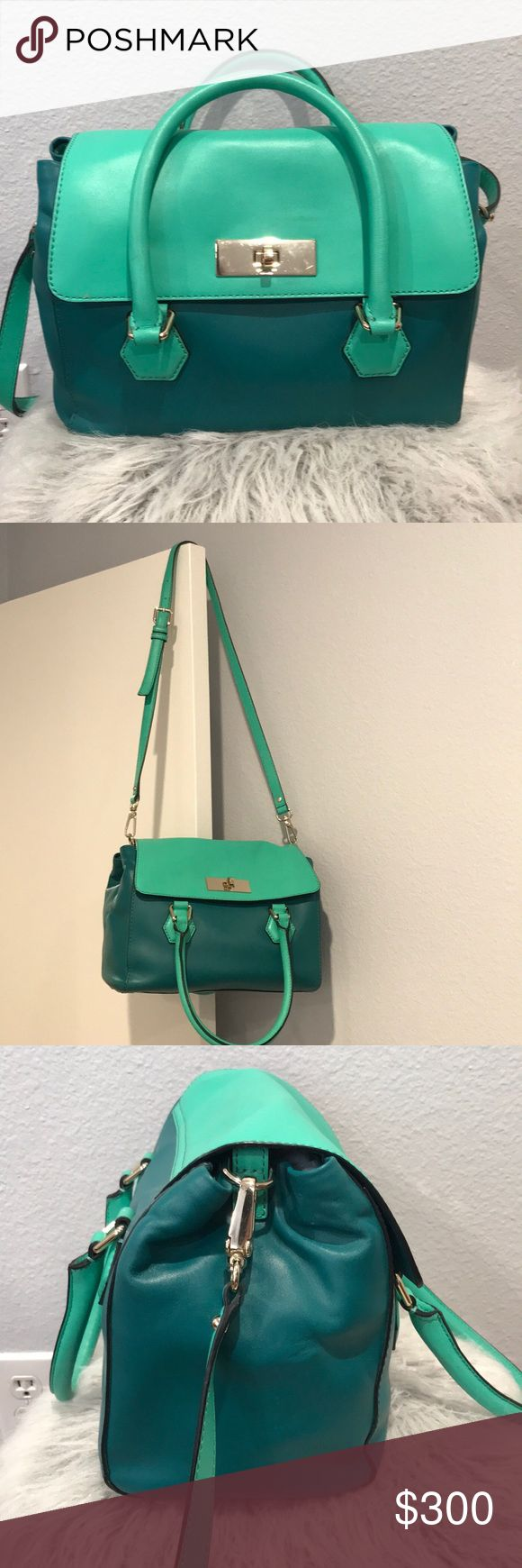 "Kate Spade Catherine Street Joanie Satchel Deep emerald Kate Spade Catherine Street Joanie crossbody satchel. Gorgeous two tone emerald hues front clasp closure with a 39"" shoulder strap, two handles, outer pocket, inner back wall zipper compartment, and 2 interior multi-function pockets. In great condition used a couple of time received as a gift. Kate spade duster included. kate spade Bags Satchels"