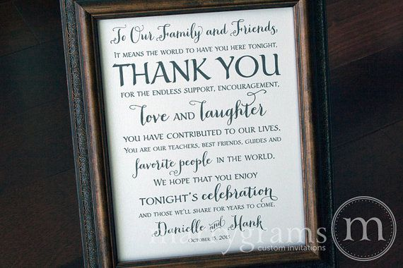 Wedding Reception Thank You Sign  To Our Family and by marrygrams
