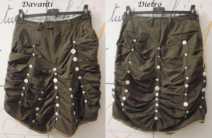 Recupero: questi erano un paio di pantaloni da uomo, taglio classico.... I bottoni sono circa 80.