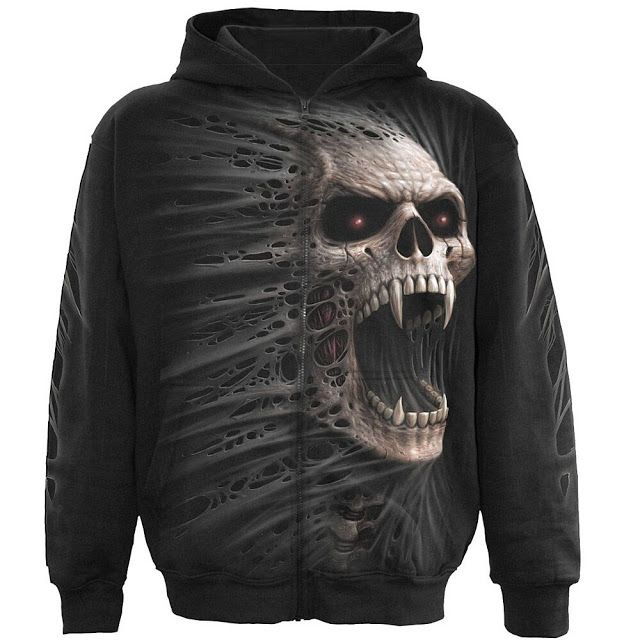 Buy it here: http://goo.gl/GDDcWl  - Spiral Cast Out Full Zip Hoodie Black - Gothic, Goth, Skulls Fangs
