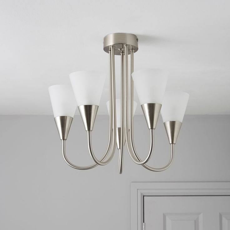 Reya nickel effect 5 lamp pendant ceiling light