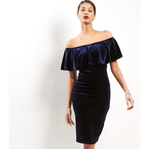 New Look Blue Vanilla Navy Velvet Bardot Neck Dress (800 UAH) ❤ liked on Polyvore featuring dresses, navy, white dress, navy party dress, white party dresses, white going out dresses and white day dress
