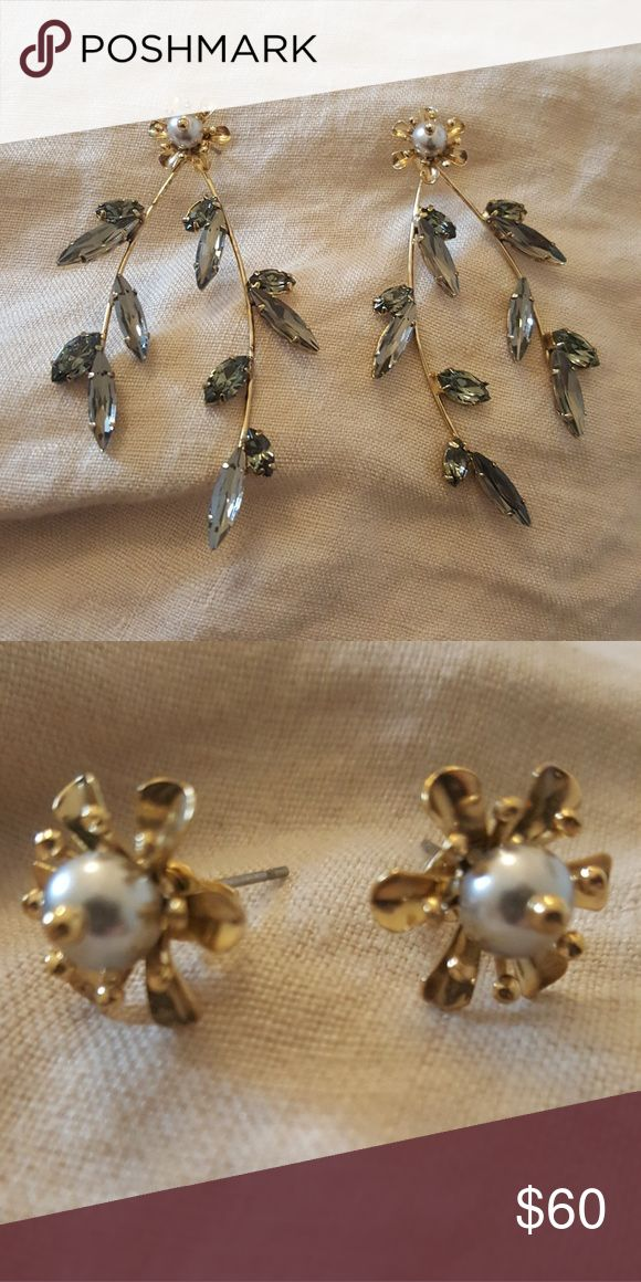 Maggie Wu Earrings Unworn luxe earrings by designer Maggie Wu. The long jeweled leaves come off, and the pair can be worn as studs. Maggie Wu Jewelry Earrings