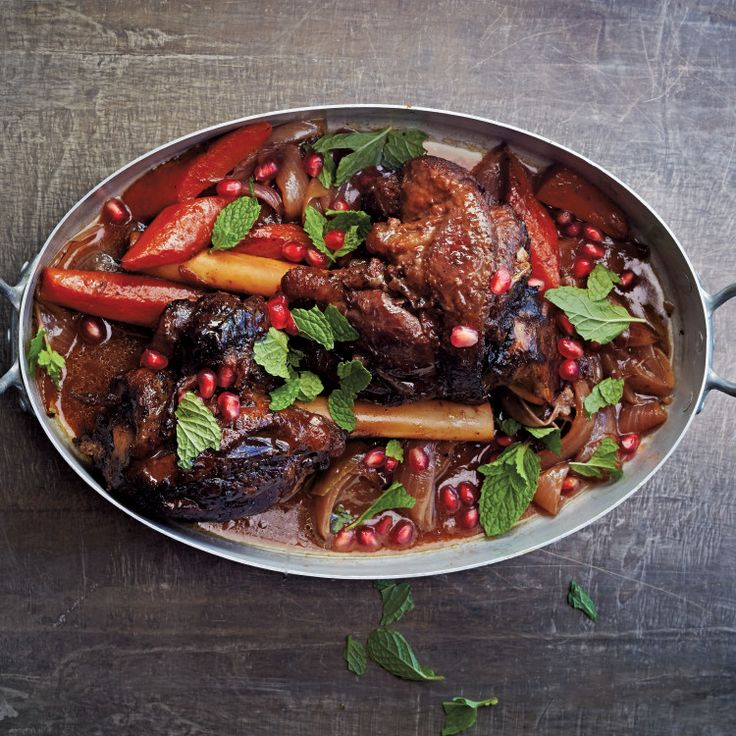 We've flavored the lamb shanks with North African spices and woken up the rich meat and vegetables with a handful of pomegranate seeds and fresh mint leaves sprinkled on just before serving.