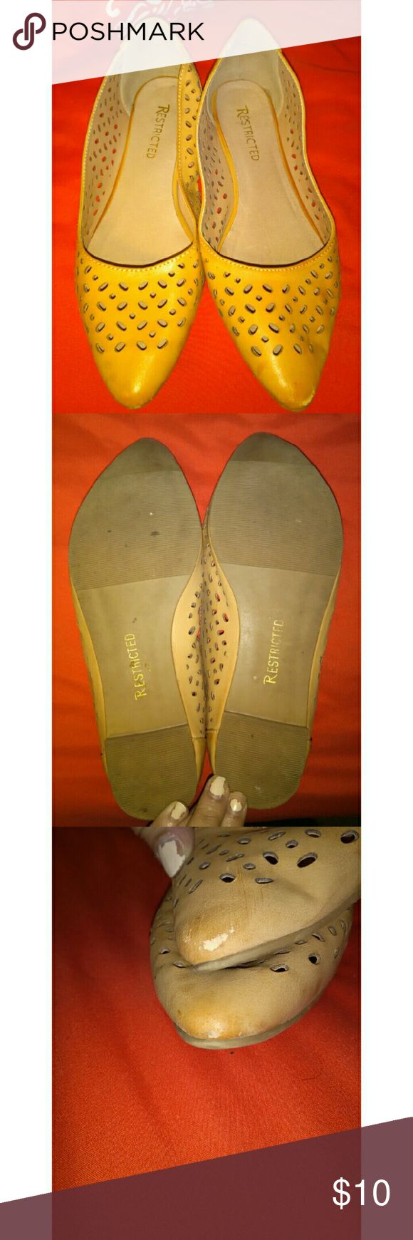 Brown point toe flats Really cute color Has holes for design (I like to think for ventilation lol) Has a couple of scuffs on the pointy part Restricted Shoes Flats & Loafers