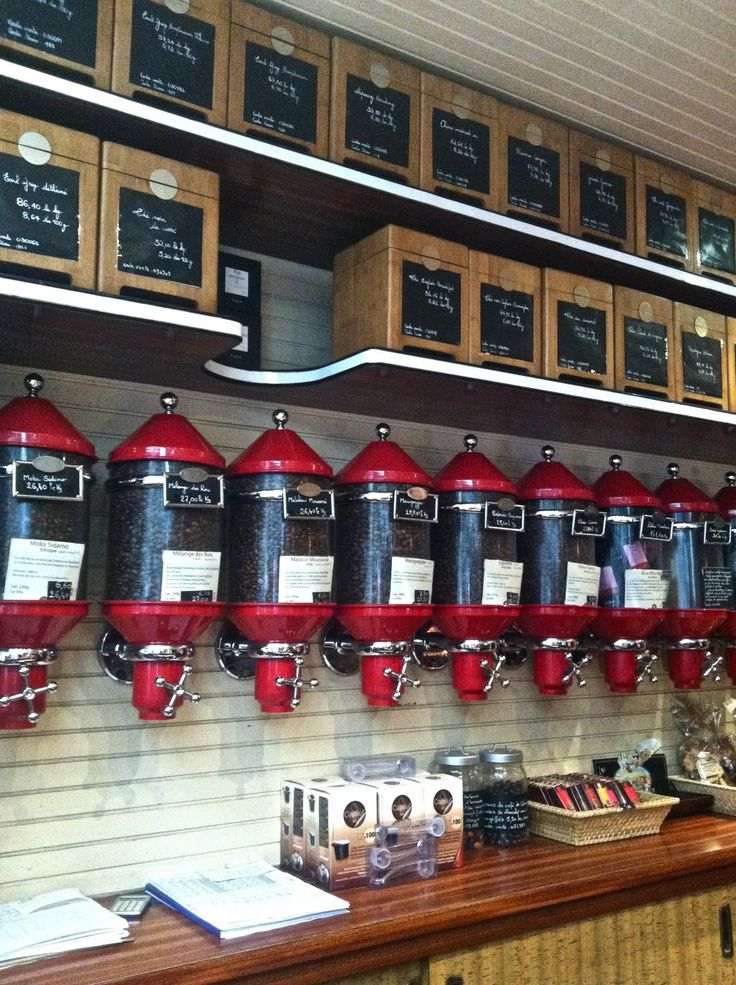 AMAZING coffee storage + dispenser (and storage for tea in the boxes on the shelves)