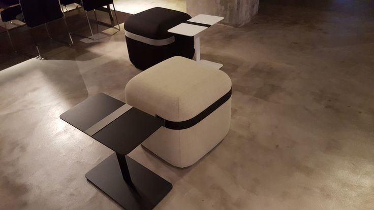 Viccarbe: Serra low tables design by Victor Carrasco and Season pouf design by Piero Lissoni