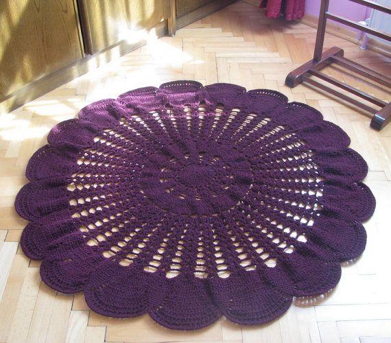 Burgundy color Crochet rug round rug carpet by knittingwomen