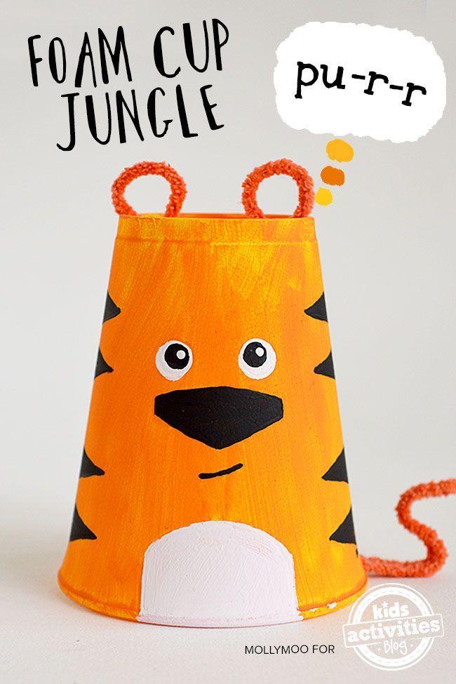 Foam cup crafts, Safari set including a tiger, giraffe and monkey