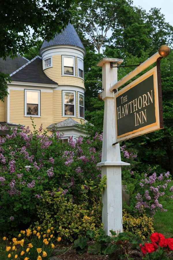 Exterior on sign for Hawthorn Inn, a Camden, Maine bed and breakfast.