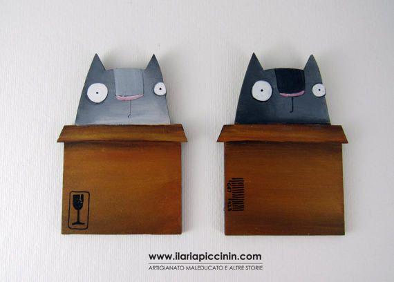 Calamita con gatto . Magnete per di IlariaPiccininStore su Etsy