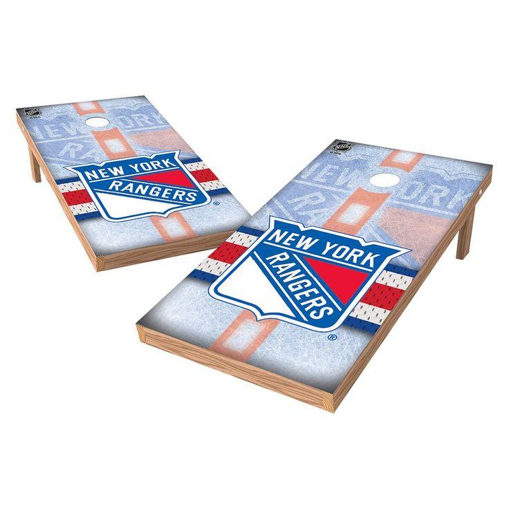 NHL Wild Sports Shield Cornhole Bag Toss Set - 2x4 ft. - New York Rangers