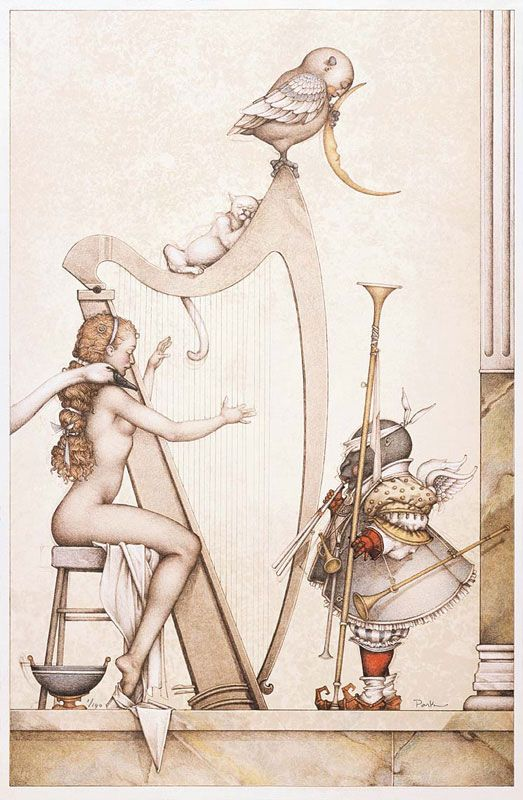 "Michael Parkes ""Moon Harp"" - 1995 (stone lithograph)."