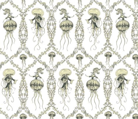 Gooey the XVI and Marine Antoinettle fabric by ceanirminger on Spoonflower - I would love to make a dress out of this fabric. Something blousy and feminine and probably involving a corset.