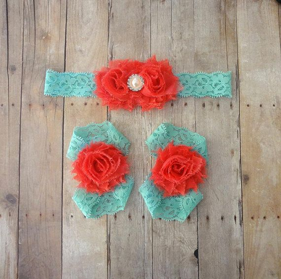 Coral Baby Barefoot Sandals & Headband Coral and by SecretBlossom, $12.99