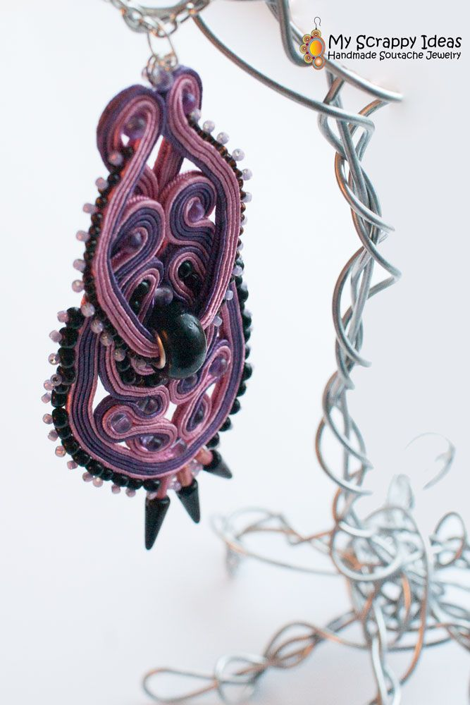 Enchanting Soutache Pendant by Soutache.MyScrappyIdeas.com Handmade, two-sided.