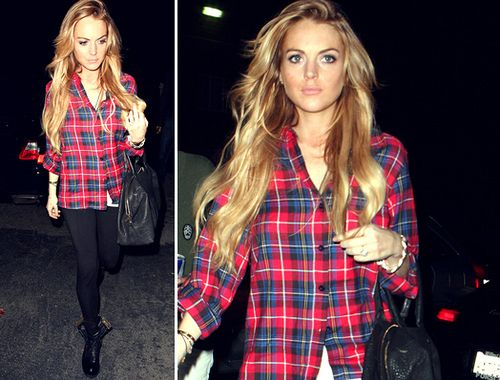 not much of a Lindsay Lohan fan, but her hair and outfit are super cute here!!
